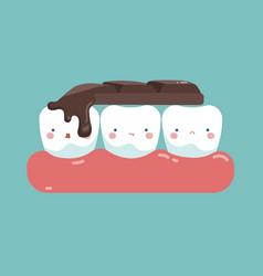 Chocolate bar on top of teeth tooth and teeth of vector