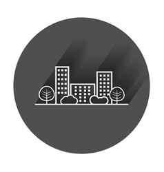 city in flat style building tree and shrub with vector image