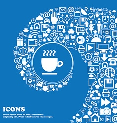 Coffee cup sign Nice set of beautiful icons vector image vector image