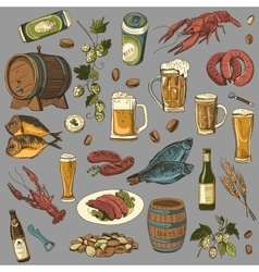 colored beer hand drawing set of sketches vector image