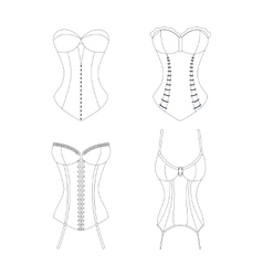 Corset outline set vogue clothing vector
