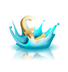 Currency water splash gold pound vector