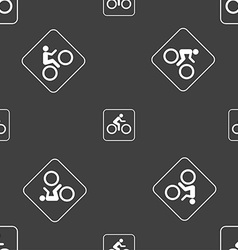 Cyclist sign Seamless pattern on a gray background vector image vector image