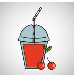 Delicious juice fruit cherry and cup cover straw vector