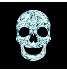 Diamond skull on black background vector image