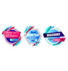 Discount -25 off winter sale vector