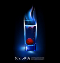 fiery hot shot cocktail glass concept vector image