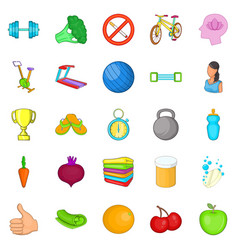 fitness equipment icons set cartoon style vector image