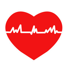 flat trendy heart beat icon with ecg vector image vector image