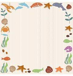 Frame with ocean life vector image