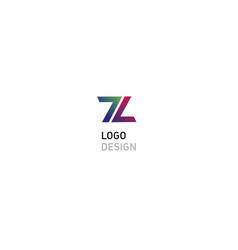 geometric logo number seven and letter l vector image