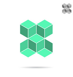 Green isometric cubes forme vector image