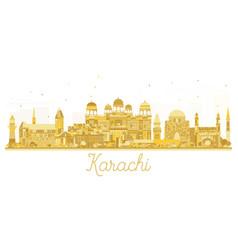 karachi pakistan city skyline golden silhouette vector image