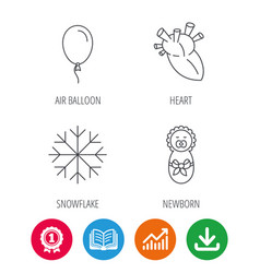 Newborn heart and air balloon icons vector