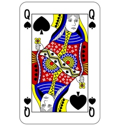 Poker playing card Queen spade vector image vector image