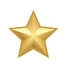 Realistic metallic golden star isolated on white vector