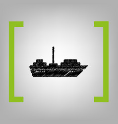 ship sign black scribble vector image vector image