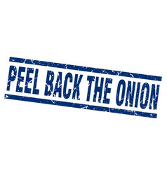 Square grunge blue peel back the onion stamp vector