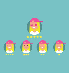 Star rating system set of emotional portraits vector