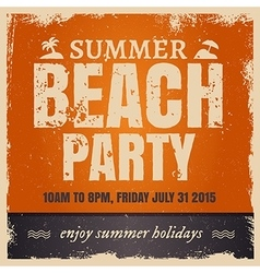 Summer beach party in retro hot style with orange vector image vector image