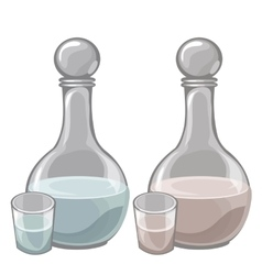 Two bottle of milk and filled cups drink vector image