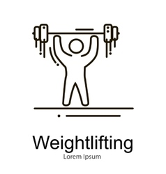 Weightlifting icon sportsman with barbell strong vector image