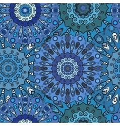 Print blue colored seamless pattern with eastern vector