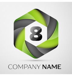 Eight number colorful logo in the hexagonal on vector