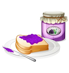 A grape jam with a sandwich at the plate vector