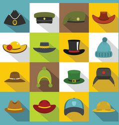 Headdress hat icons set flat style vector
