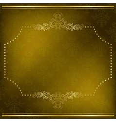 Olive card with gold frame vector