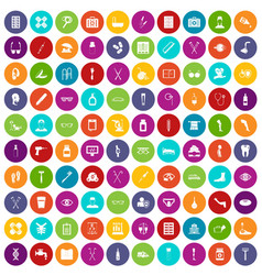 100 disabled healthcare icons set color vector