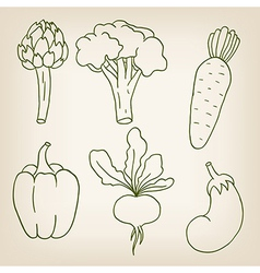 Set of six cute vegetables vector