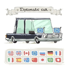 Diplomatic Car With Flags Set vector image