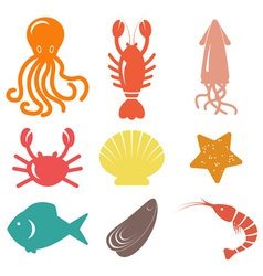 Seafood icons sea life vector