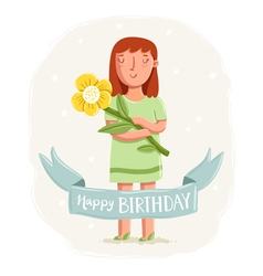 Happy birthday card with a girl holding a flower vector