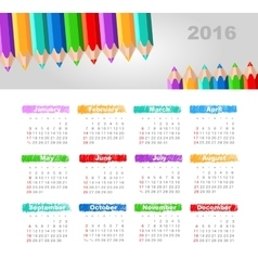 Calendar 2016 with a pencil week starts sunday vector