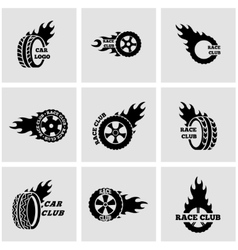 Black racing labels icon set vector