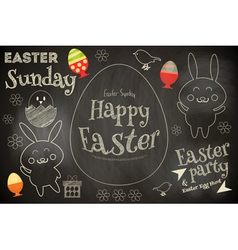 Easter card with easter bunny vector