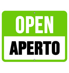 Aperto sign in black and green vector