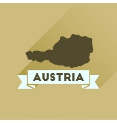 Flat icon with long shadow map of austria vector