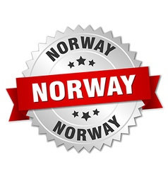 Norway round silver badge with red ribbon vector