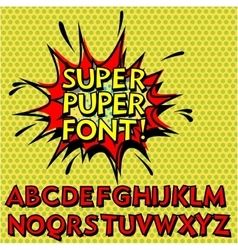 Cool pop art font alphabet vector