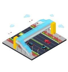 Isometric city road with pedestrian bridge vector
