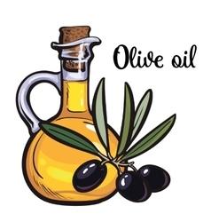 Olive oil bottle with black olives vector
