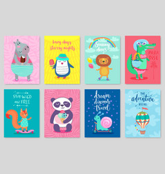 Animals card set hand drawn style summer theme vector