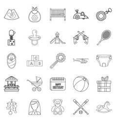 Baby icons set outline style vector