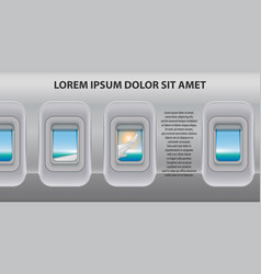 banner of a plane portholes brochure in tourism vector image