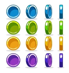colorful Coin game turn-based Rotation animation vector image