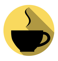 cup of coffee sign flat black icon with vector image vector image